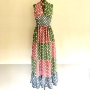 🍡VINTAGE 70s Patchwork Pastel Dot Maxi Dress